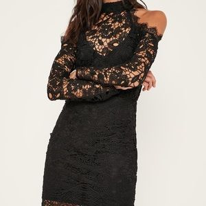 MISSGUIDED Black lace Cold Shoulder dress WITH TAG